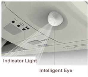 2-area intelligent eye which directs air flow to a zone other than where the person is located at that moment